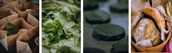 A photo collage showing the spirulina algae based food products brought to the local farmers market. From left to right: spirulina algae nacho tortilla chips, spirulina algae hummus, spirulina algae shortbread cookies, and spirulina algae bread