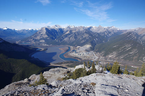 Look out point at the summit of the Heart Mountain Horseshoe Trail overlooking the Bow Valley in Alberta, Canada
