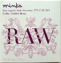 "Charger l'image dans la galerie, MINKA chocolat RAW 77% cacao ""cru"" BIO + physalis 50g"