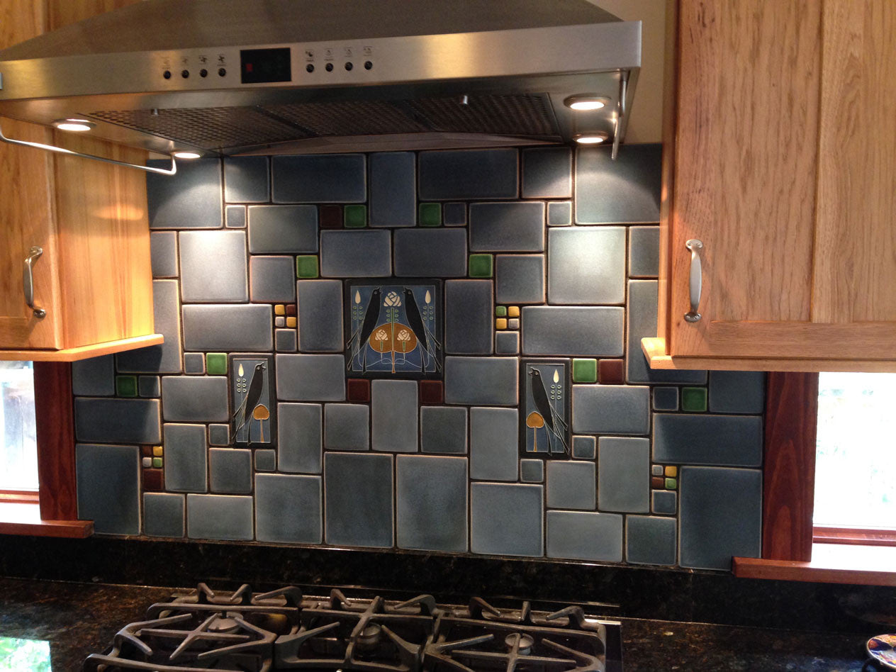 Spotlight on birds motawi tileworks all dressed up in cream subway tiles with accents in our dark brown and granite glaze colors this is certainly a family owlbum youll want to hang on the dailygadgetfo Choice Image