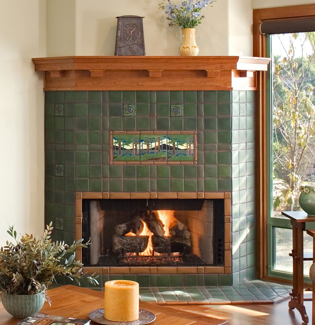 Spotlight on pine landscape motawi tileworks surrounded by motawis signature glaze lee green and sprinkled with decorative accent tiles this fireplace owns the room doublecrazyfo Image collections