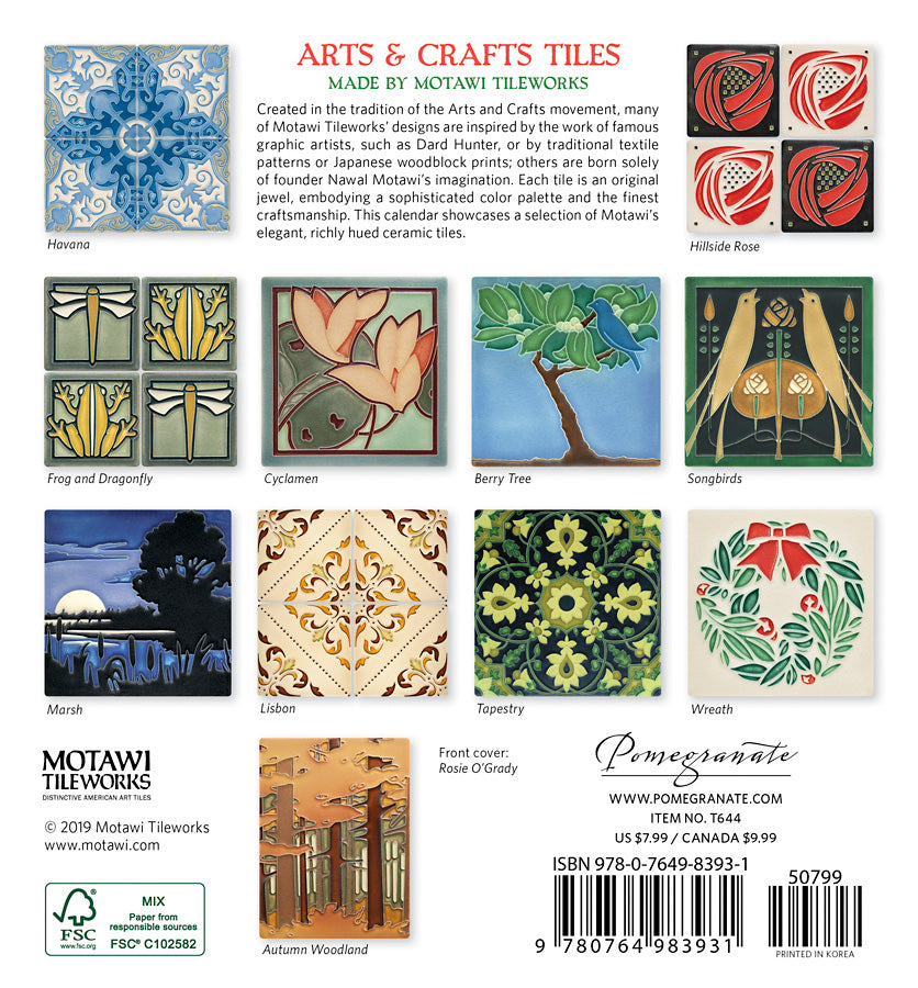 7x7 Arts & Crafts Tiles 2020 Mini Calendar