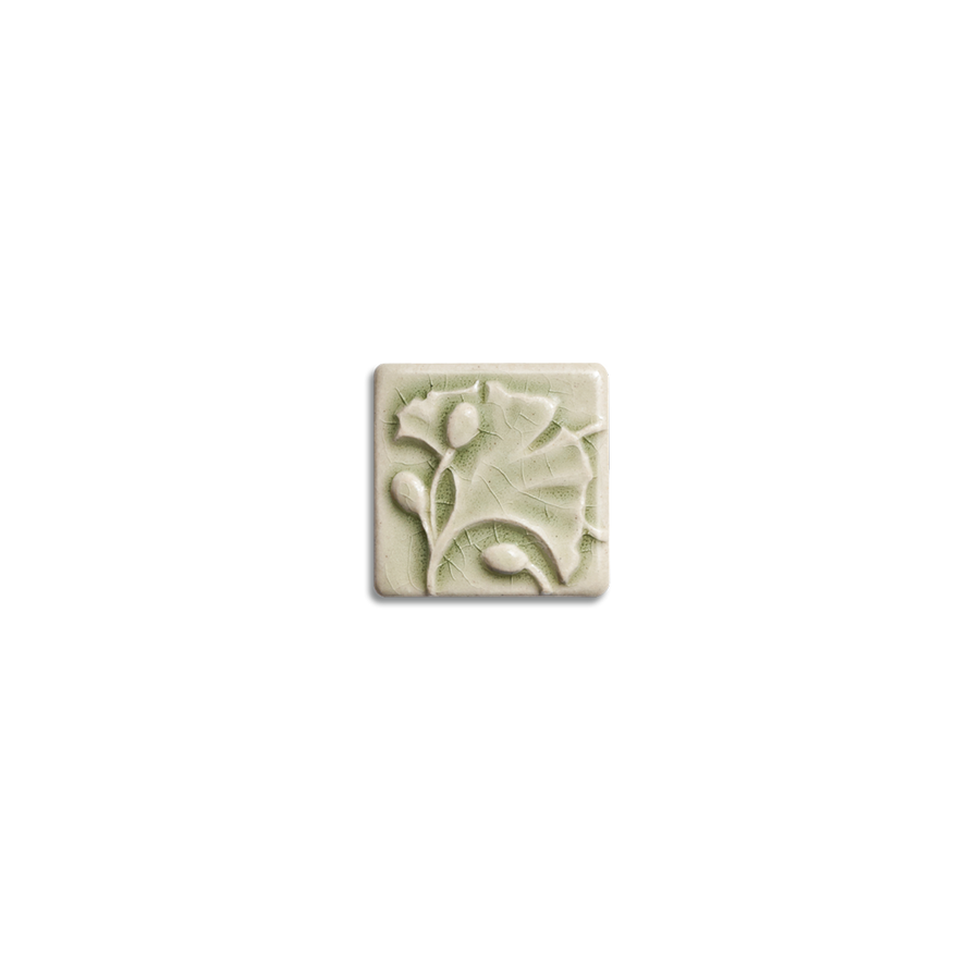 2x2 Ginkgo Corner Block is available in any of our standard glazes. Shown here in 2010 Celadon.