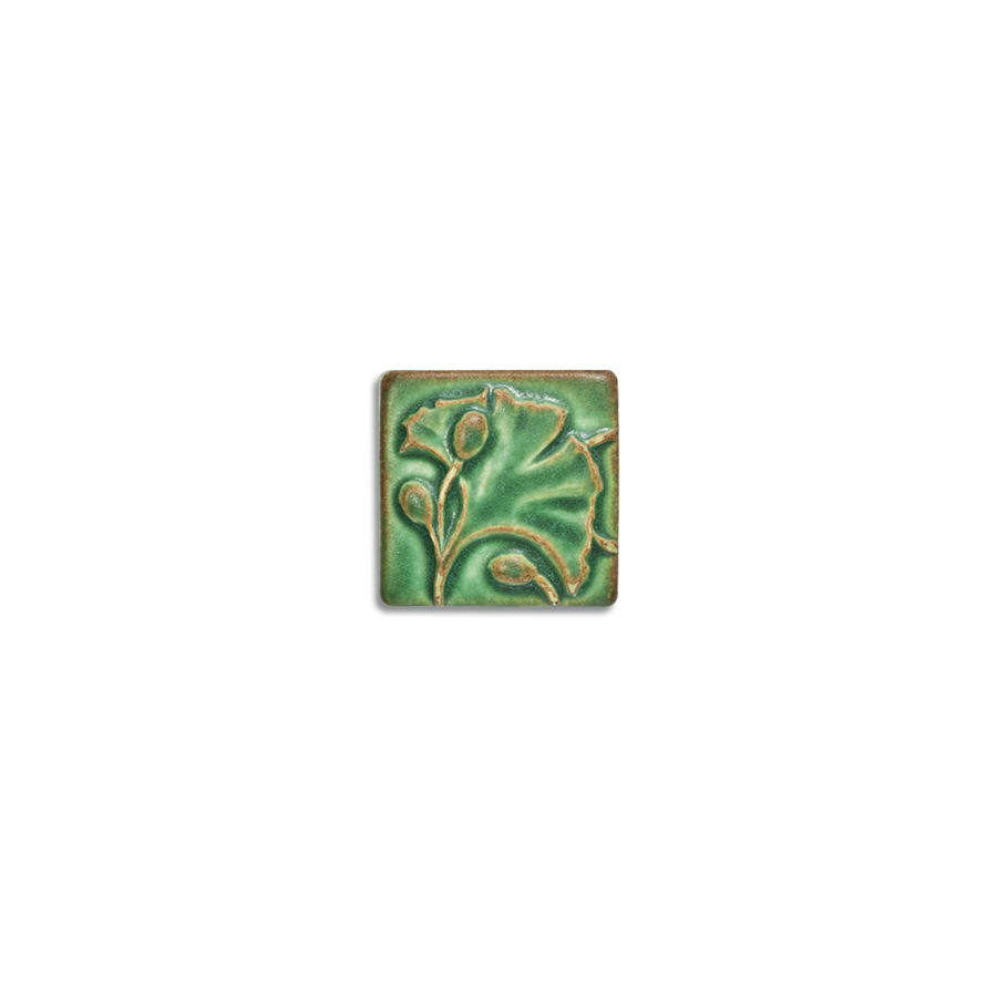 2x2 Ginkgo Corner Block is available in any of our standard glazes. Shown here in 5046 Lime.