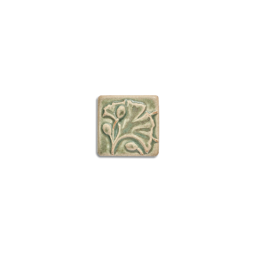 2x2 Ginkgo Corner Block is available in any of our standard glazes. Shown here in 5200 Lichen.