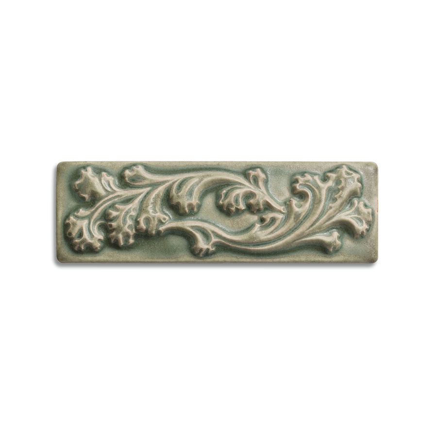 2x6 Ashland Border is available in any of our standard glazes. Shown here in 5200 Lichen.