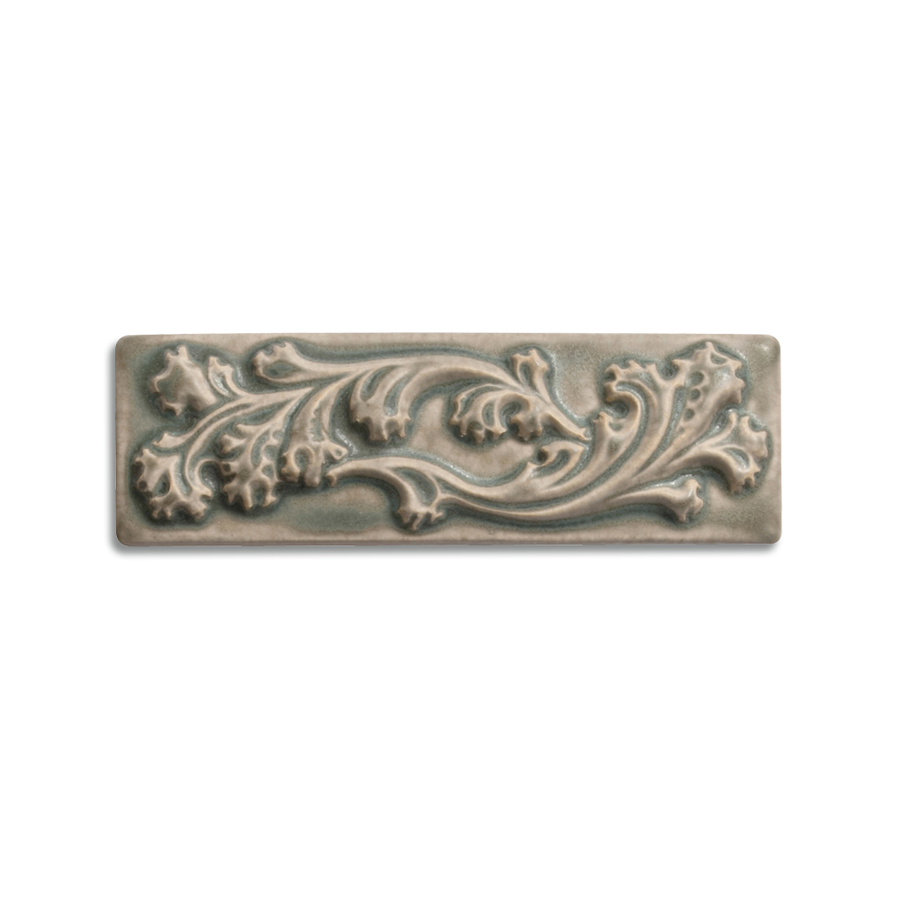 2x6 Ashland Border is available in any of our standard glazes. Shown here in 5236 Rothwell Grey.