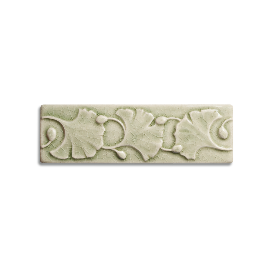 2x6 Ginkgo Border is available in any of our standard glazes. Shown here in 2010 Celadon.
