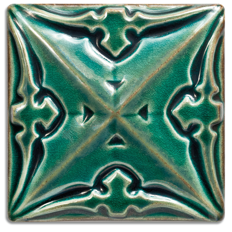 2903 | Turquoise, Glossy on 4x4 Sullivan Relief Tile