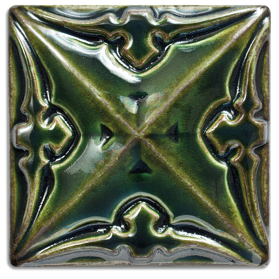 2904 | Emerald, Glossy on 4x4 Sullivan Relief Tile