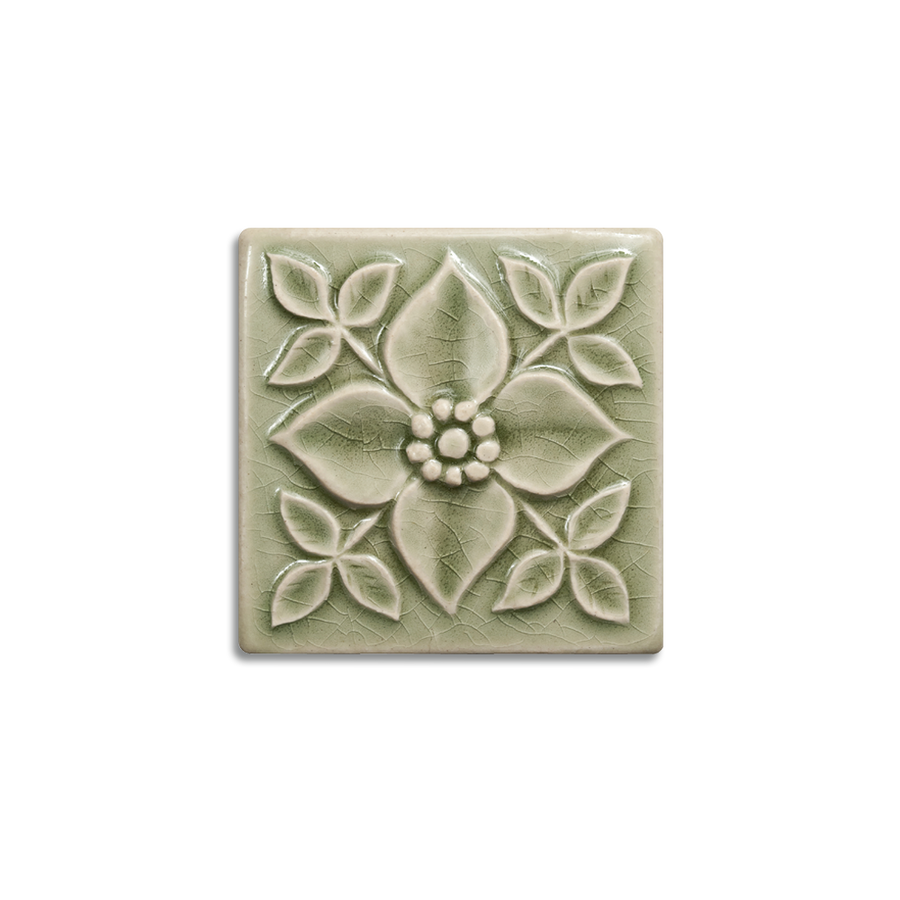 4x4 Pansy is available in any of our standard glazes. Shown here in 2010 Celedon.