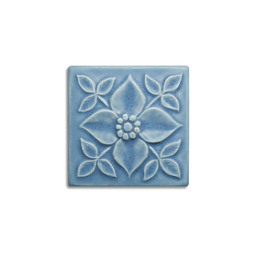 4x4 Pansy is available in any of our standard glazes. Shown here in 5061 Pale Blue.