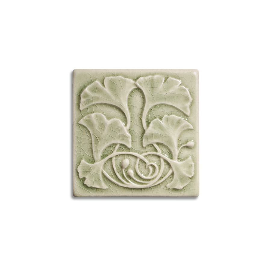 4x4 Gingko is available in any of our standard glazes. Shown here in 2010 Celadon