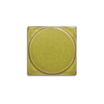 The 4x4 Outie Circle is available in any of our standard glazes. Shown here in 5153 Pear.