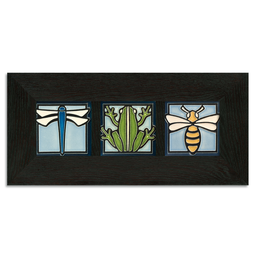 4x4 Animal Framed Tile Set (Light Blue) Ebony Oak Park (Horizontal)