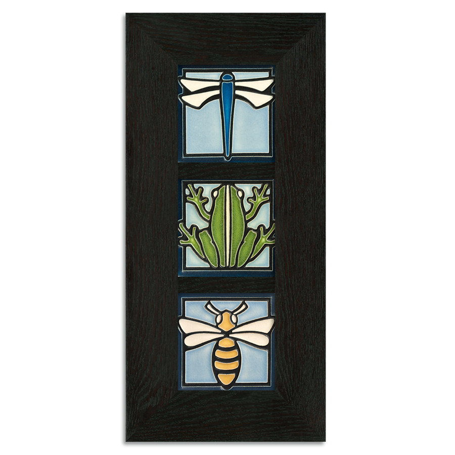 4x4 Animal Framed Tile Set (Light Blue) Ebony Oak Park (Vertical)