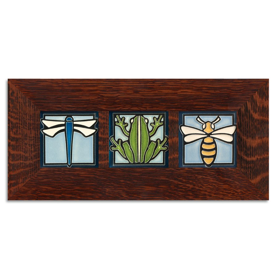 4x4 Animal Framed Tile Set (Light Blue) Craftsman Oak (Horizontal)