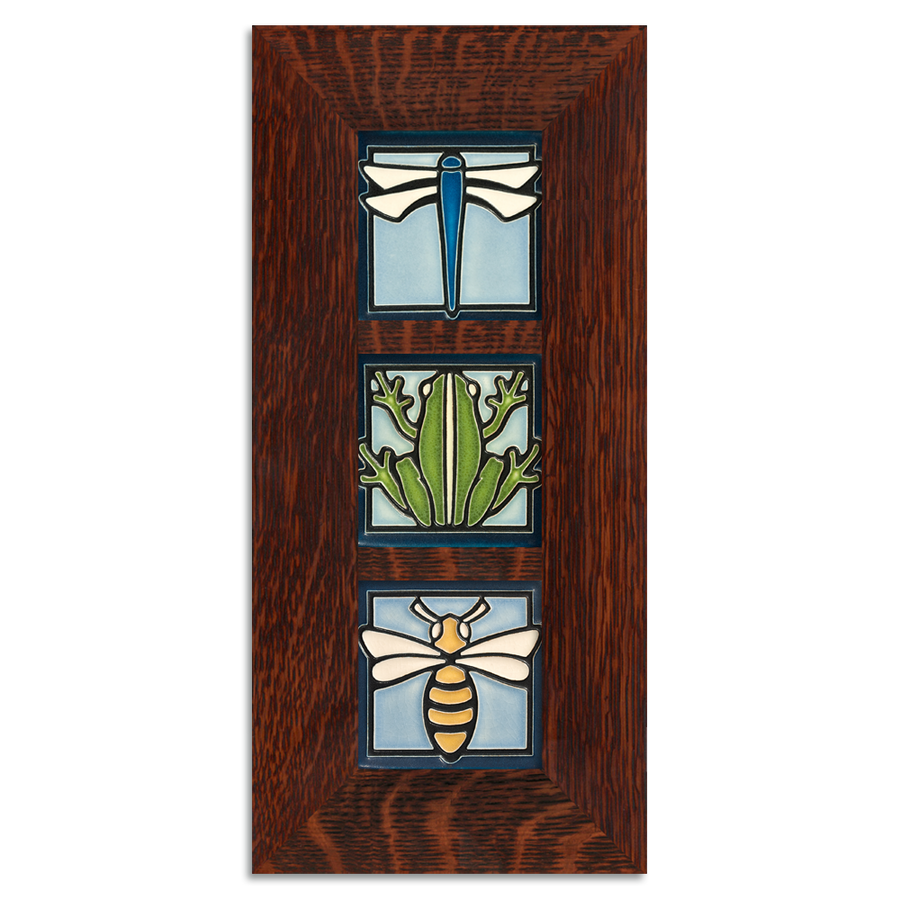 4x4 Animal Framed Tile Set Craftsman Oak (Vertical)