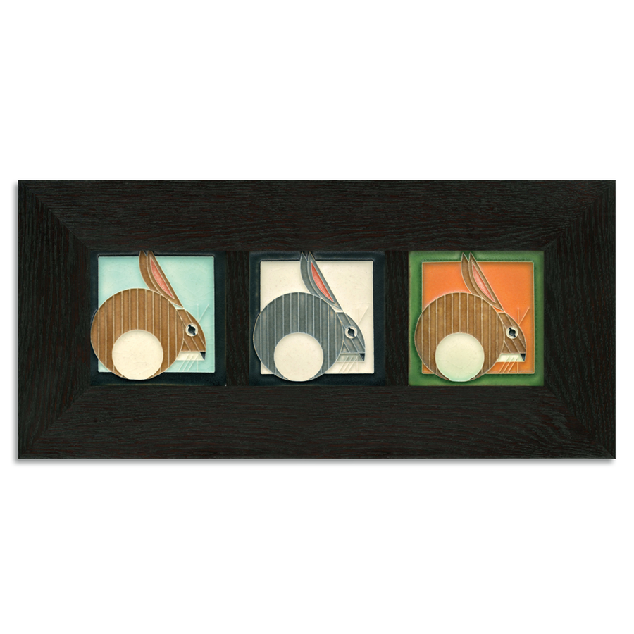 4x4 Charley Harper Hares Framed Tile Set Ebony Oak Park (Horizontal)