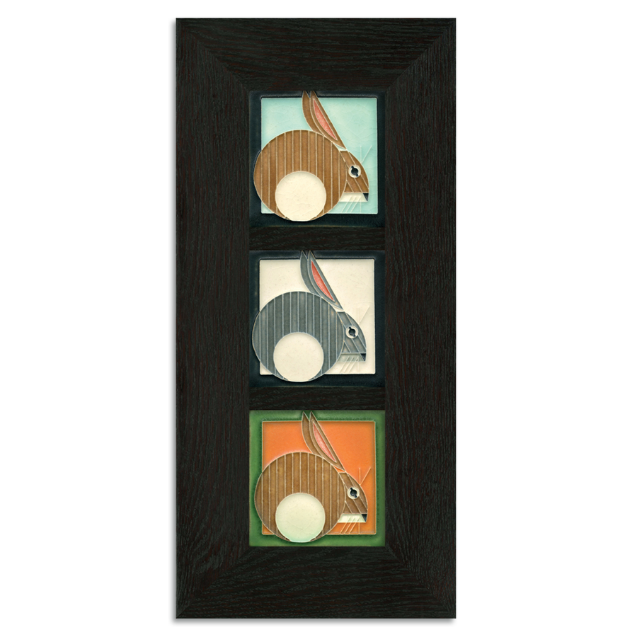 4x4 Charley Harper Hares Framed Tile Set Ebony Oak Park (Vertical)
