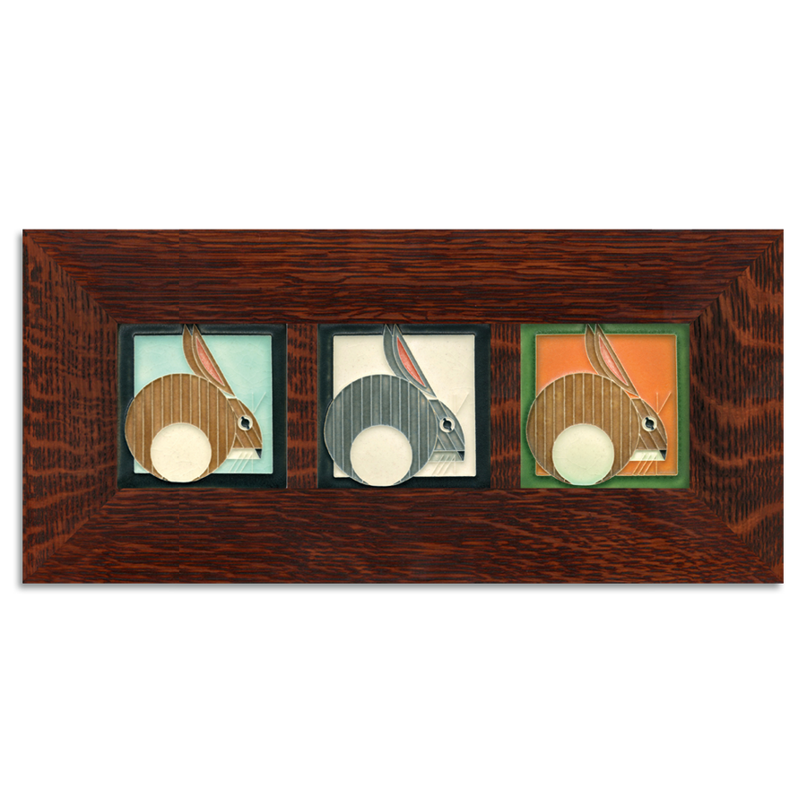 4x4 Charley Harper Hares Framed Tile Set Craftsman Oak (Horizontal)