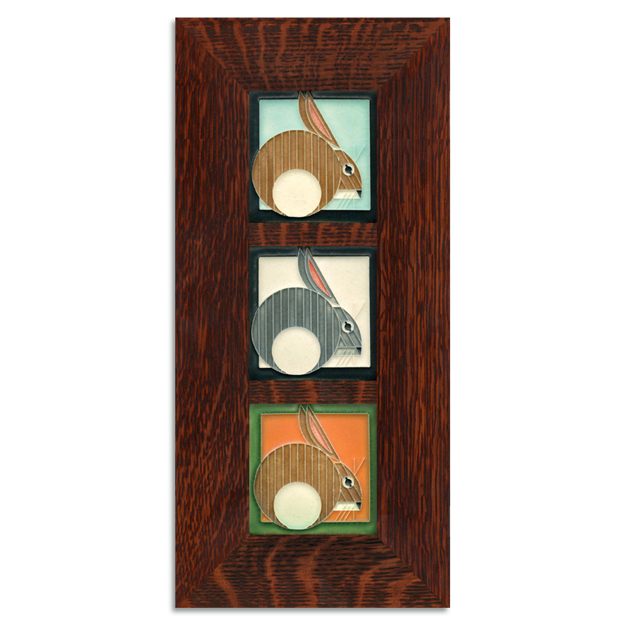 4x4 Charley Harper Hares Framed Tile Set Craftsman Oak (Vertical)