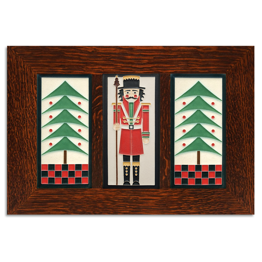 4x8 Holiday Framed Tile Set (Peppermint) Craftsman Oak