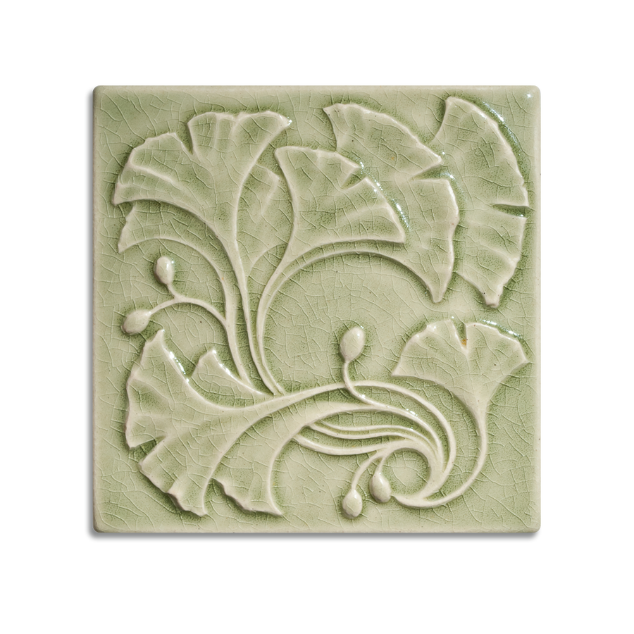 6x6 Ginkgo is available in any of our standard glazes. Shown here in 2010 Celadon.