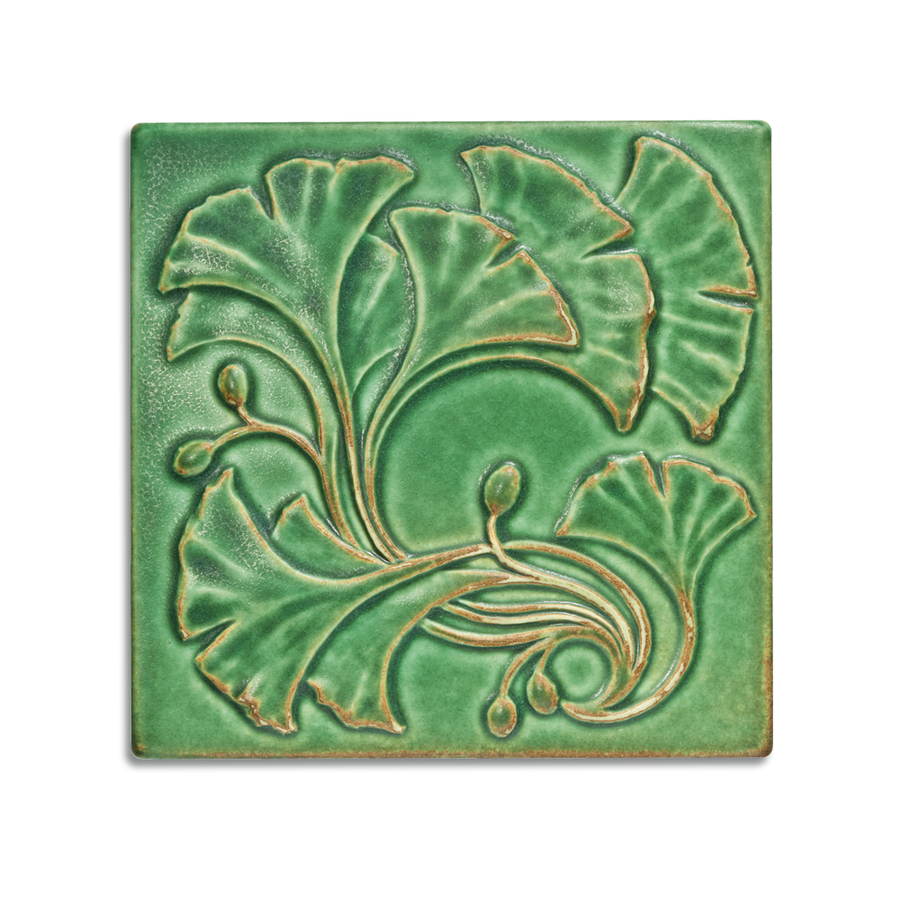 6x6 Ginkgo is available in any of our standard glazes. Shown here in 5046 Lime.