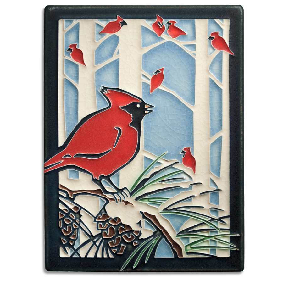 6x8 Winter Cardinals
