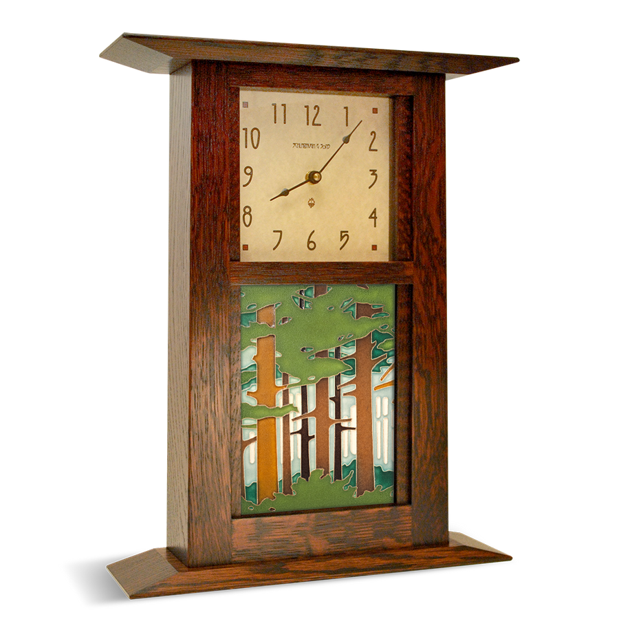 Example Arts and Crafts Clock shown with tile (tile sold separately)