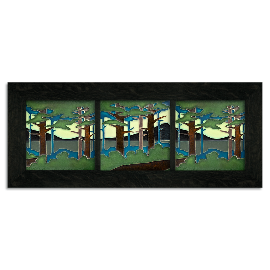 8x8 Pine Landscape Ebony Park Framed Tile Set
