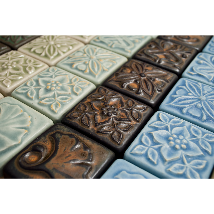 Full 2x2 Bontanica Relief Series shown here in various glazes.