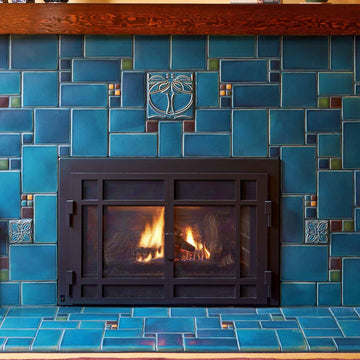 Blue Collage Fireplace