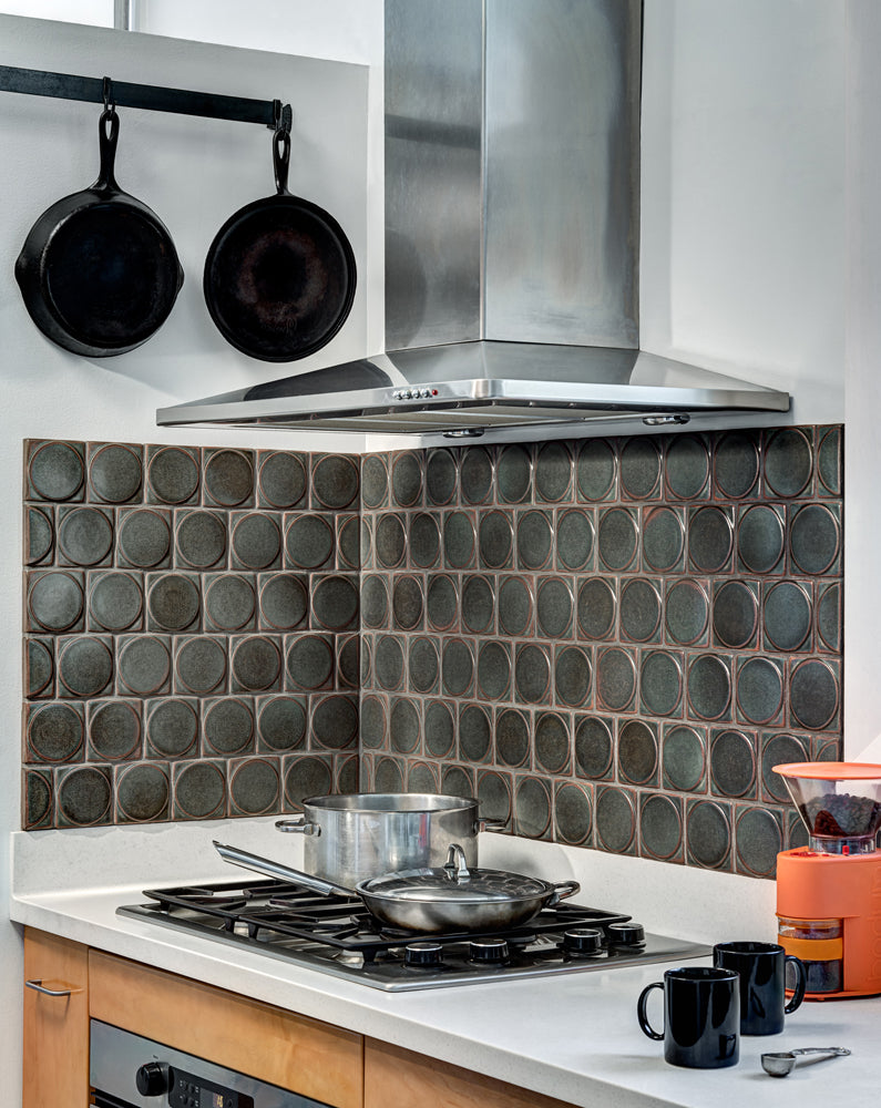 Speaking of Colleen's favorite glaze color, Granite, here it is used in her very own kitchen in her favorite design style: mid-century modern.