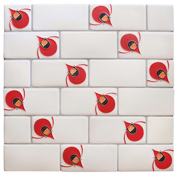 Charley Harper Subway Tile Cardinal, Cream