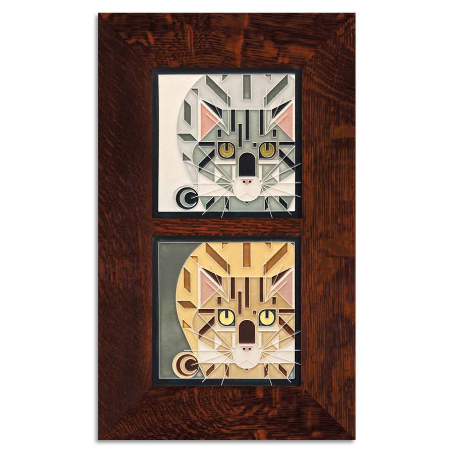 6x6 Charley Harper Double Catnip Framed Set, Oak Finish