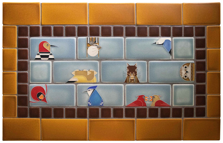 Charley Harper Subway Tile, Storm Blue, Oak, Dark Brown