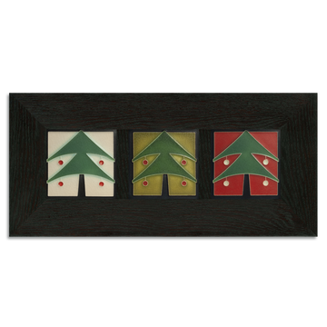 4x4 Christmas Tree Framed Tile Set Ebony Oak Park (Horizontal)