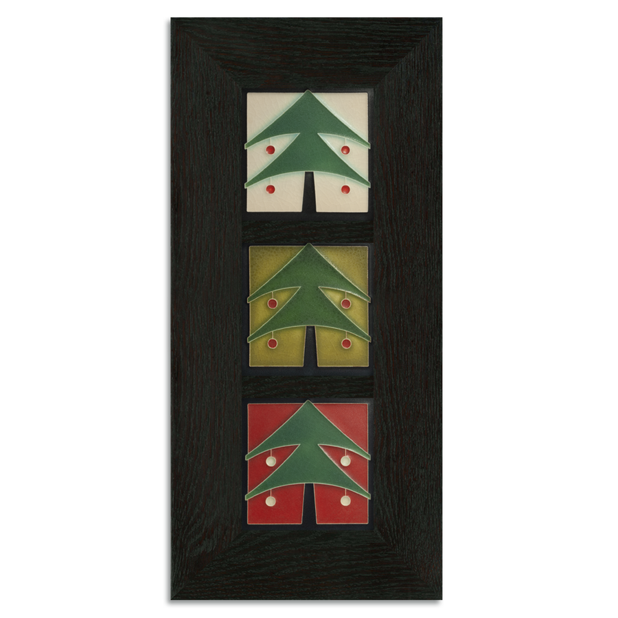4x4 Christmas Tree Framed Tile Set Ebony Oak Park (Vertical)