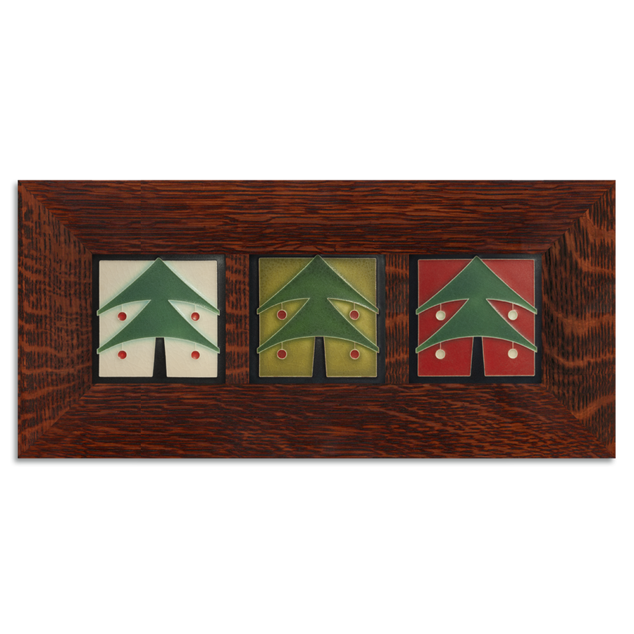 4x4 Christmas Tree Framed Tile Set Craftsman Oak (Horizontal)
