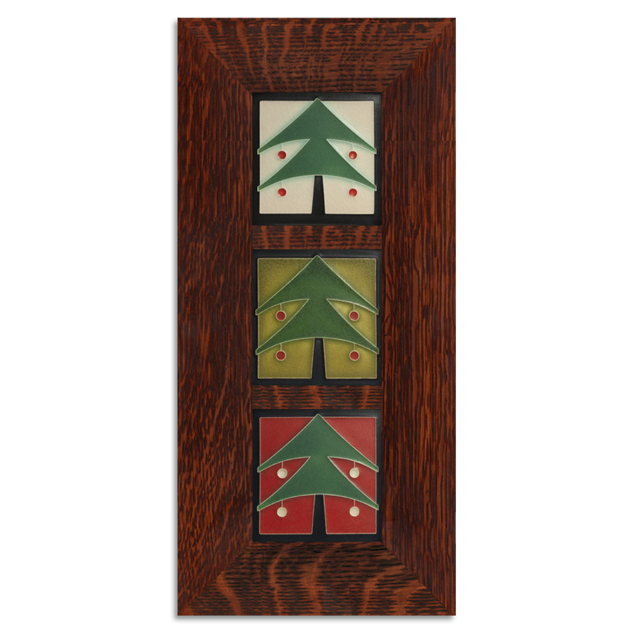 4x4 Christmas Tree Framed Tile Set Craftsman Oak (Vertical)