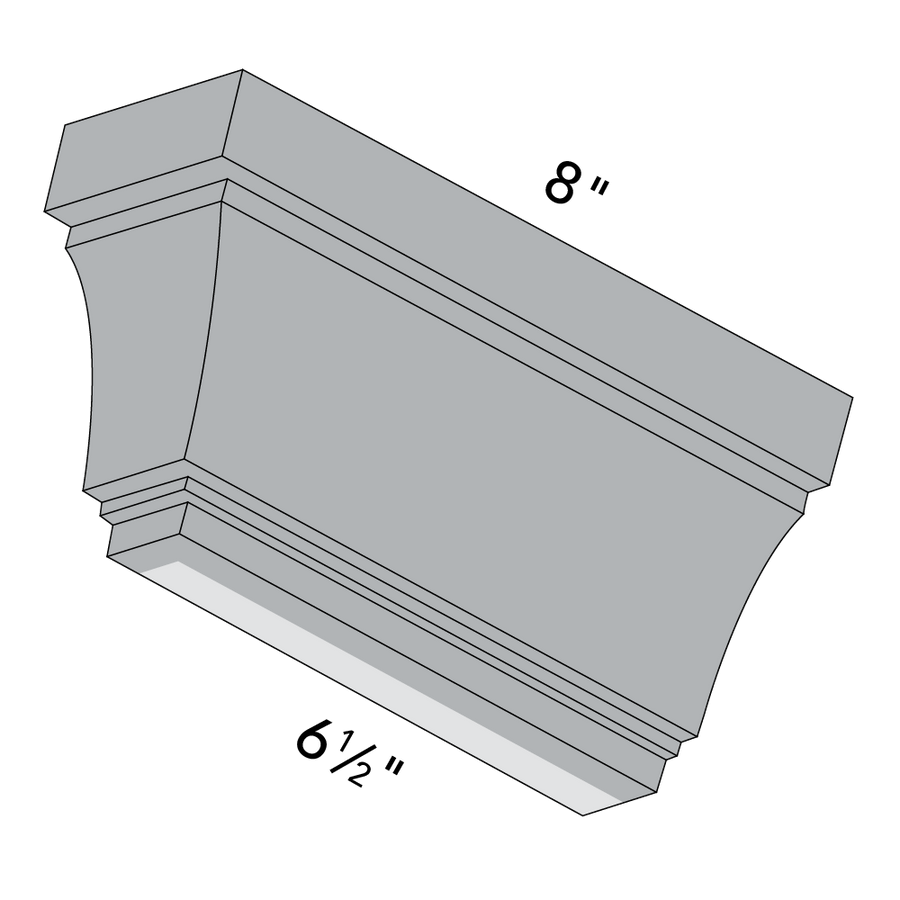 4x6 Ellsworth Deep Crown Molding, Left End Dimensions