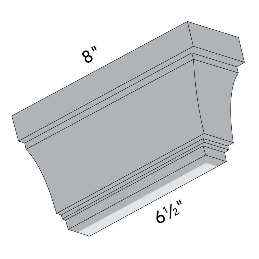 4x6 Ellsworth Deep Crown Molding, Right End Dimensions