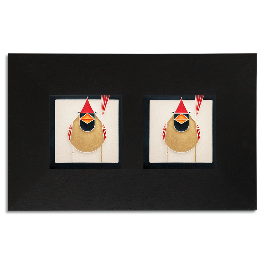 4x4 Charley Harper Cardinals Framed Set (Female), Ebony Finish
