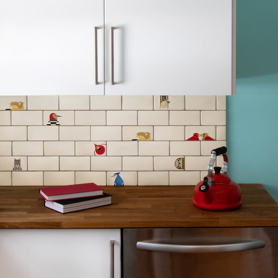 Charley Harper Subway Tile Kitchen