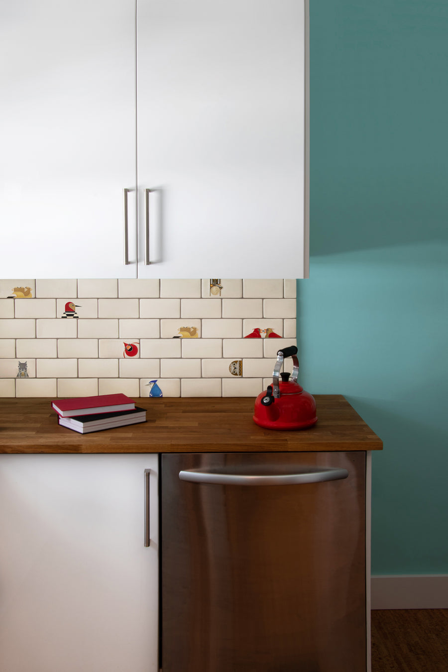 Charley Harper Subway Tile Kitchen Motawi Tileworks