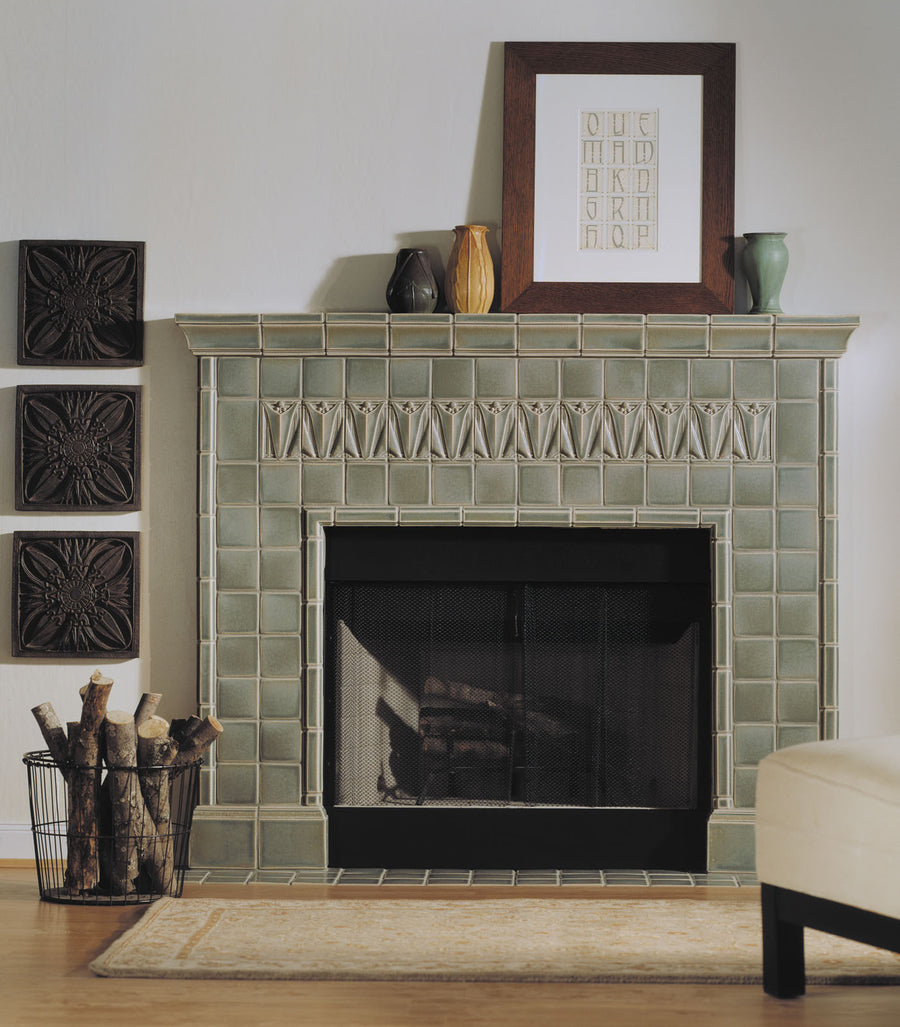 Halsted Fireplace Shown With 4610 4x6 Halsted Left and Right Ends, plus 4x6 Ellsworth Deep Crown, 2x6 Oxford Trim and 6x6 Linwood Deep Base, all in glaze 5236 Rothwell Gray