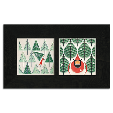 6x6 Charley Harper Holiday Framed Set, Ebony Finish