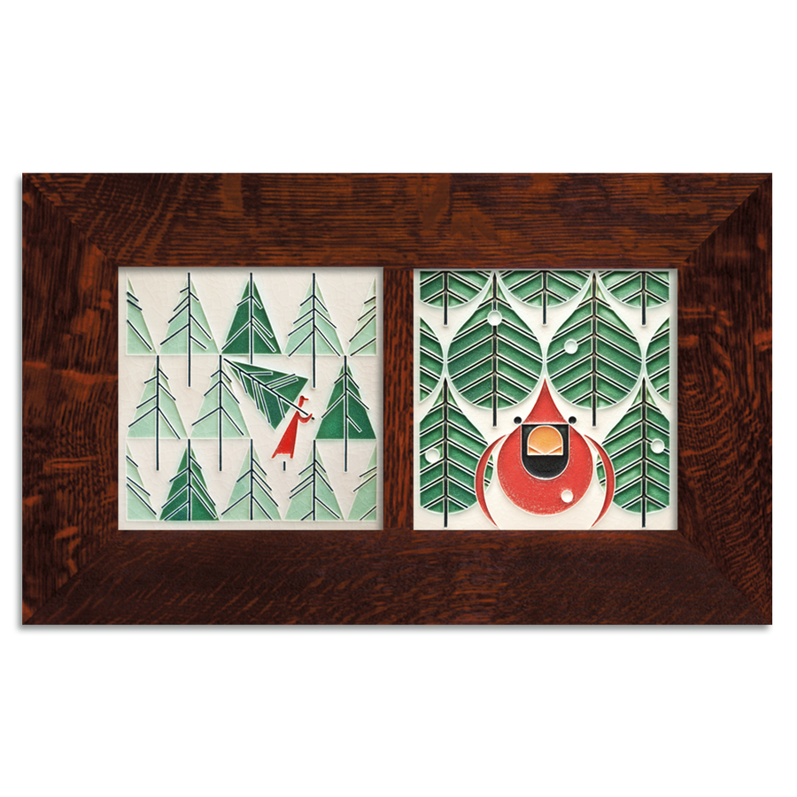 6x6 Charley Harper Holiday Framed Set, Oak Finish